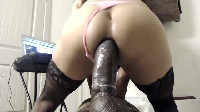 Sissy girl ride huge dildo sissy girl ride